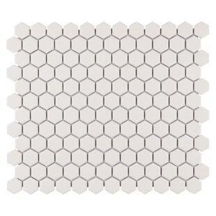 New York Hexagon 0 875 X Porcelain Unglazed Mosaic Tile In Textured Cream