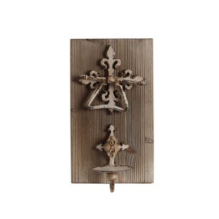 Iron and Wood Wall Candle Holder