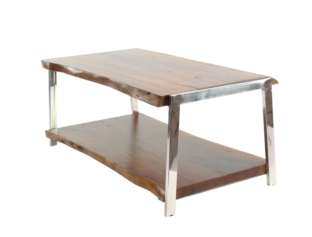Foundry select althea rustic wood and stainless steel coffee table althea rustic wood and stainless steel coffee table with magazine rack geotapseo Images