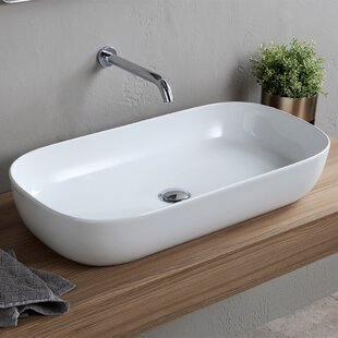 Scarabeo by Nameeks Ceramic Oval Vessel Bathroom Sink with Overflow