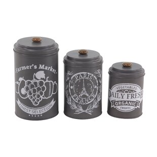 Vicknair Tin 3 Piece Kitchen Canister Set