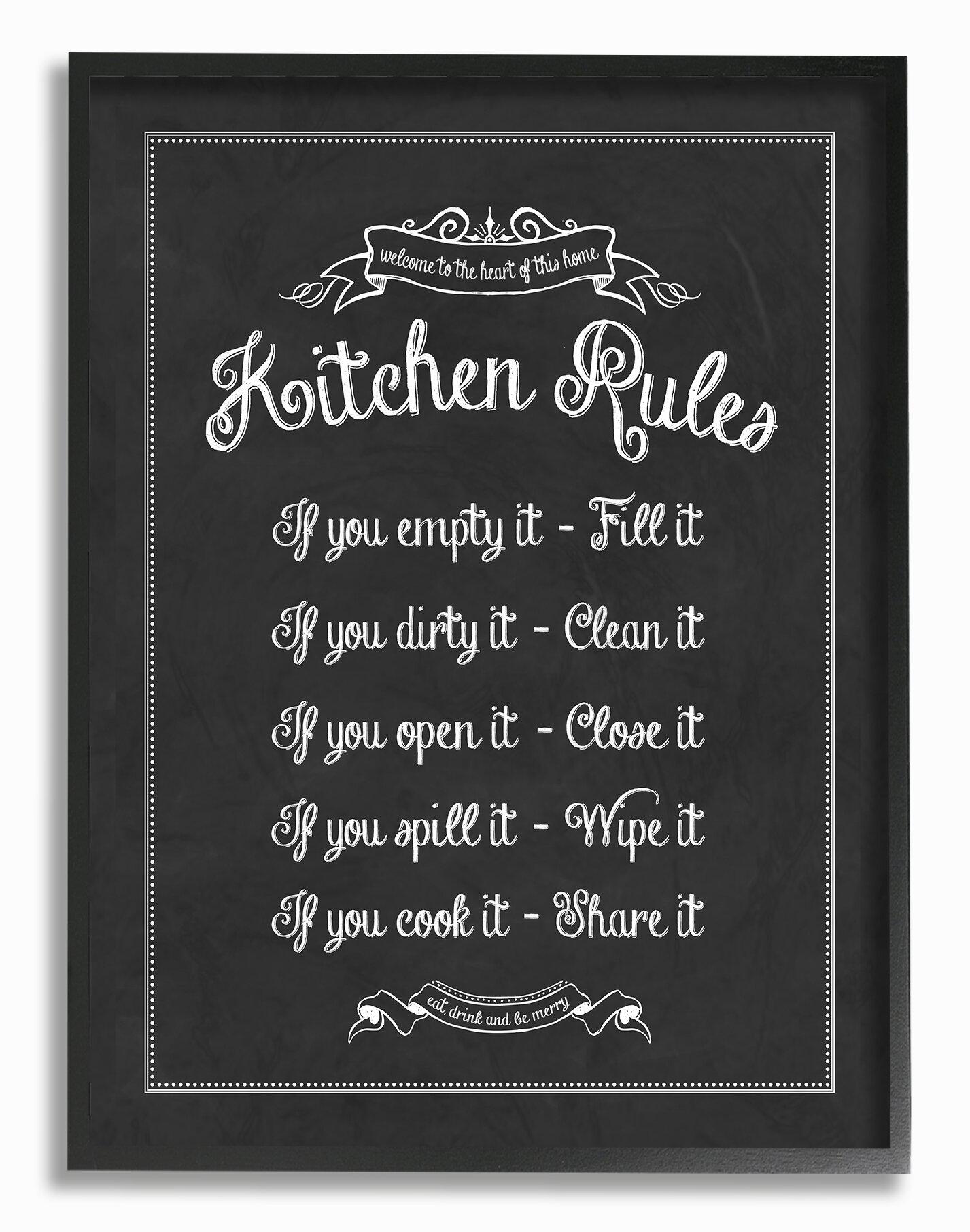 Stupell industries kitchen rules chalkboard textual art wayfair