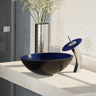Great Price Glass Circular Vessel Bathroom Sink with Faucet ByRené By Elkay