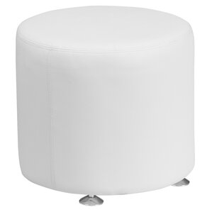 Krysten Solid Round Leather Ottoman by Orren Ellis