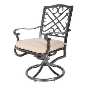 Jeremiah Swivel Patio Dining Chair with Cushion (Set of 2)
