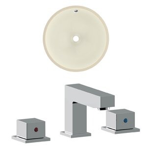 Best Price Ceramic Circular Undermount Bathroom Sink with Faucet and Overflow By American Imaginations