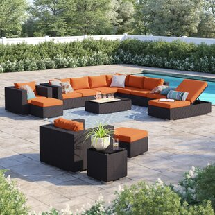 Brentwood 12 Piece Rattan Sectional Set With Cushions by Sol 72 Outdoor Cheap