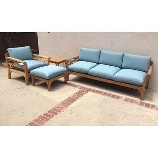 Trijaya Living Malibu 4 Piece Teak Sunbrella Sofa Set with Cushions