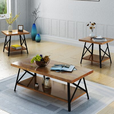 17 Stories Ellefson 3 Piece Coffee and End Table Set Color Natural
