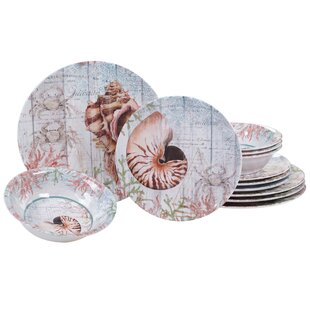 Higbee 12 Piece Melamine Dinnerware Set, Service for 4