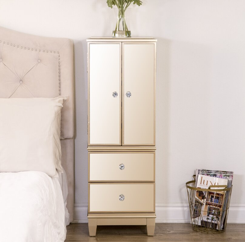 Berges Free Standing Jewelry Armoire with Mirror Reviews Birch Lane