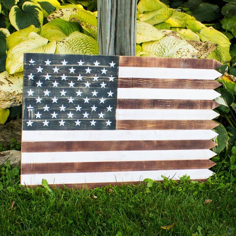 August Grove Outdoor Wooden American Flag Wall Décor   Wayfair