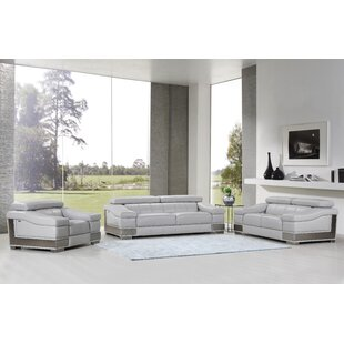 Hawkesbury Common 3 Piece Leather Living Room Set by Orren Ellis