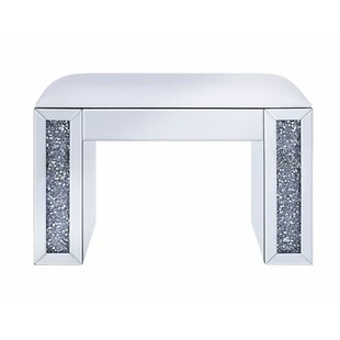 Alcala Wood and Mirror Vanity Stool by Everly Quinn