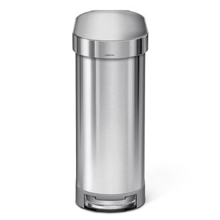 simplehuman 45 Liter Slim Step Stainless Steel Trash Can with Liner Rim Rose