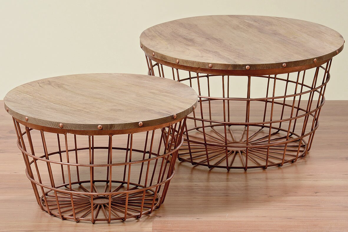 WholeHouseWorlds Urban 2 Piece Wire Basket End Table Set