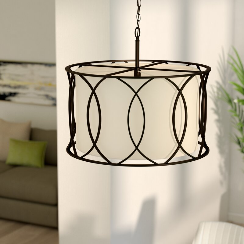 nickel satin with light com fixtures pendant in shade finish amazon dp ceiling drum modern white chandelier