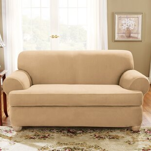 Soft Suede T-Cushion Loveseat Slipcover