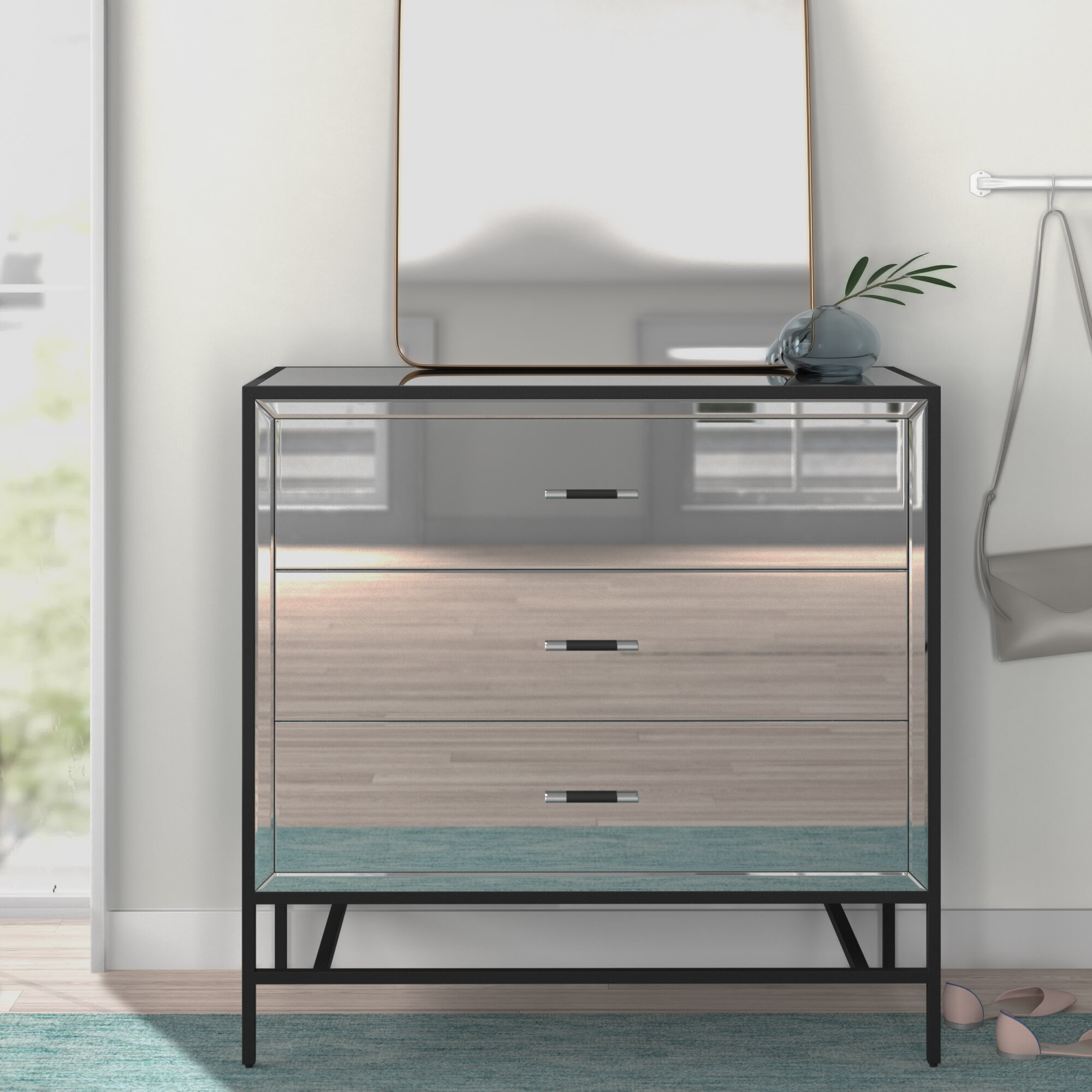 Heuer 3 Drawer Mirrored Accent Chest Reviews Allmodern