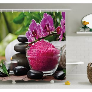 Spa Zen Stone Triplets with Asian type Orchids and Fuchsia Salt Shower Curtain Set