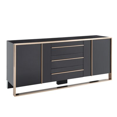 Benjara 3 Drawer Wooden Buffet With 2 Cabinets And 2 Shelves, Black And Gold