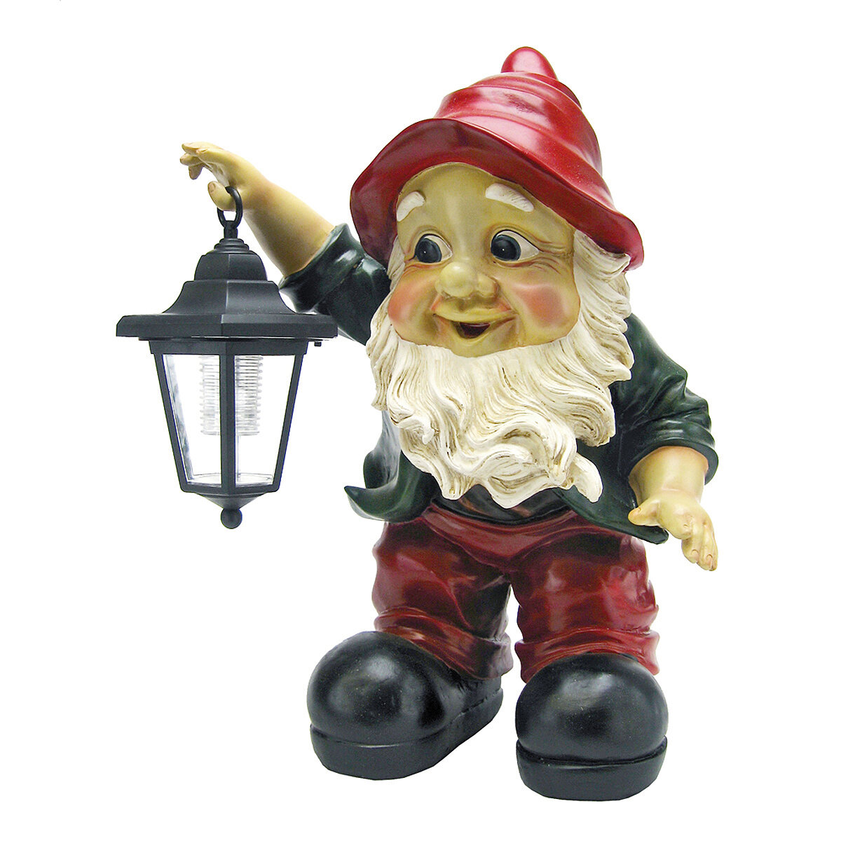 "Large 18/""H Garden Gnome Sitting Holding Lantern Solar Powered Lamp Statue Cool"