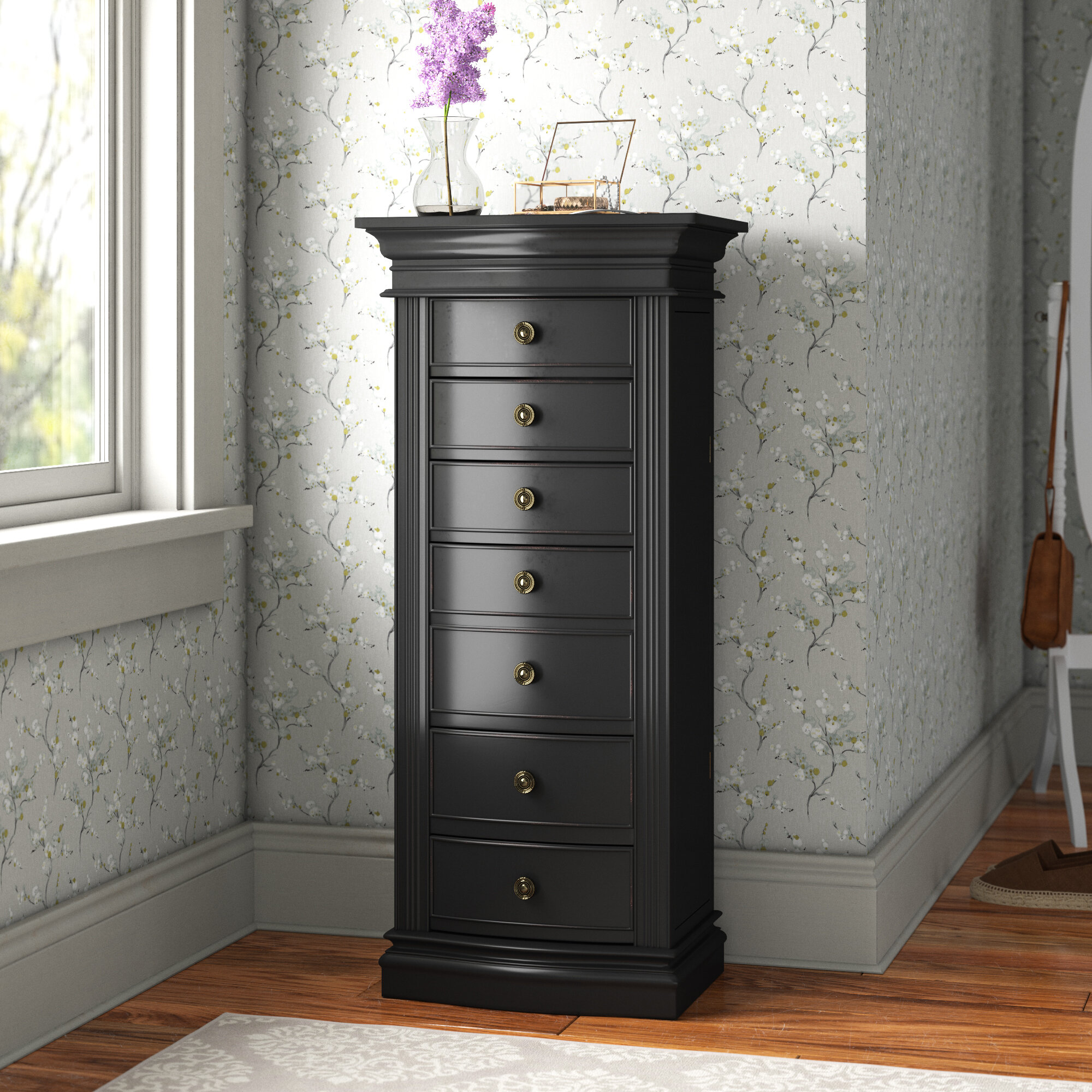 Image of: Andover Mills Mcclure Free Standing Jewelry Armoire With Mirror Reviews Wayfair