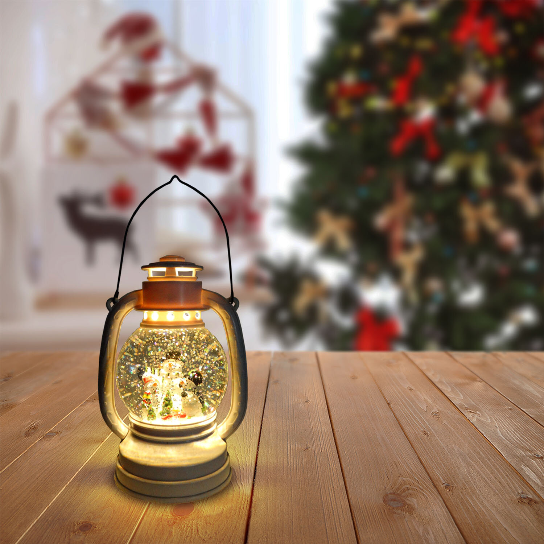 LED Christmas Lantern Swirling Hanging Glitter Lantern Holidays Home Decoration