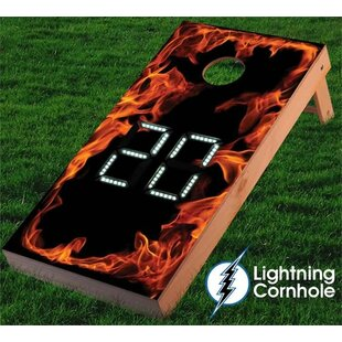 Lightning Cornhole Electronic Scoring Flaming Cornhole Board