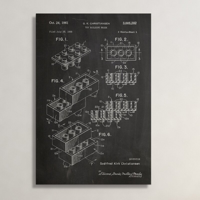 "Patent Prints ""Building Block"" Graphic Art on Wrapped Canvas"