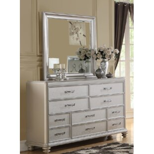 Rosdorf Park Amanda 10 Drawer Dresser with Mirror
