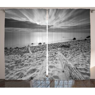 Delila Driftwood Graphic Print and Text Semi-Sheer Rod Pocket Curtain Panels (Set of 2) by Latitude Run