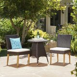 Saurabh Outdoor 3 Piece Bistro Set with Cushions