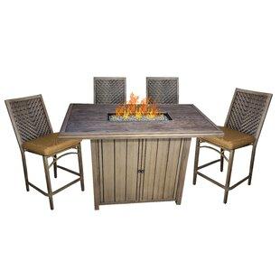 Bar height fire pit table wayfair asine aluminum fire pit table set of 5 watchthetrailerfo