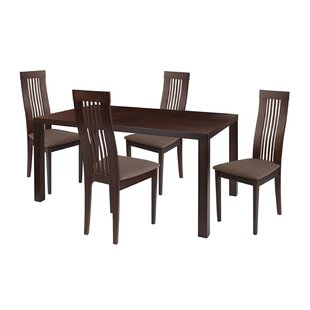 Ebern Designs Kingston 5 Piece Espresso Wood Dining Table Set with Framed Rail Back Design Wood Dining Chairs - Padded Seats