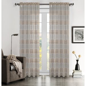 Addie Striped Semi-Sheer Rod Pocket Curtain Panels (Set of 2)