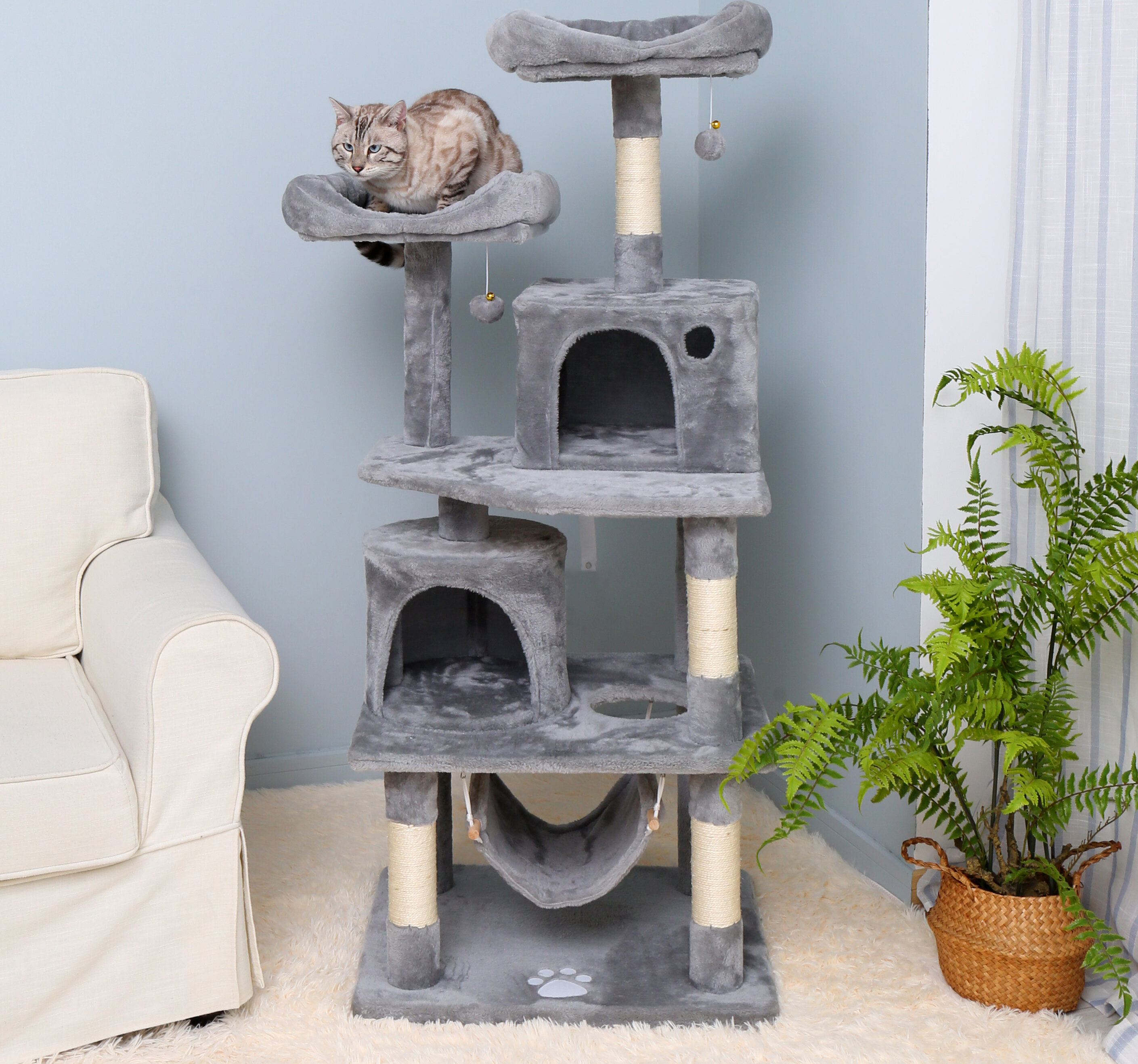 Tucker Murphy Pet 57 08 Inches Multi Level Cat Tree For Large Cats With Cozy Perches Stable Cat Tower Cat Condo Pet Play House Wayfair