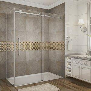 Moselle Completely Frameless Rectangular Sliding Shower Enclosure with Base