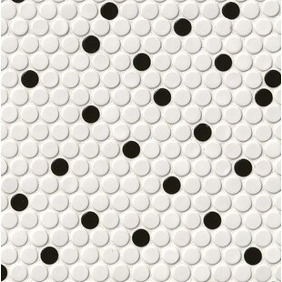 Penny Round Porcelain Mosaic Tile In White Black