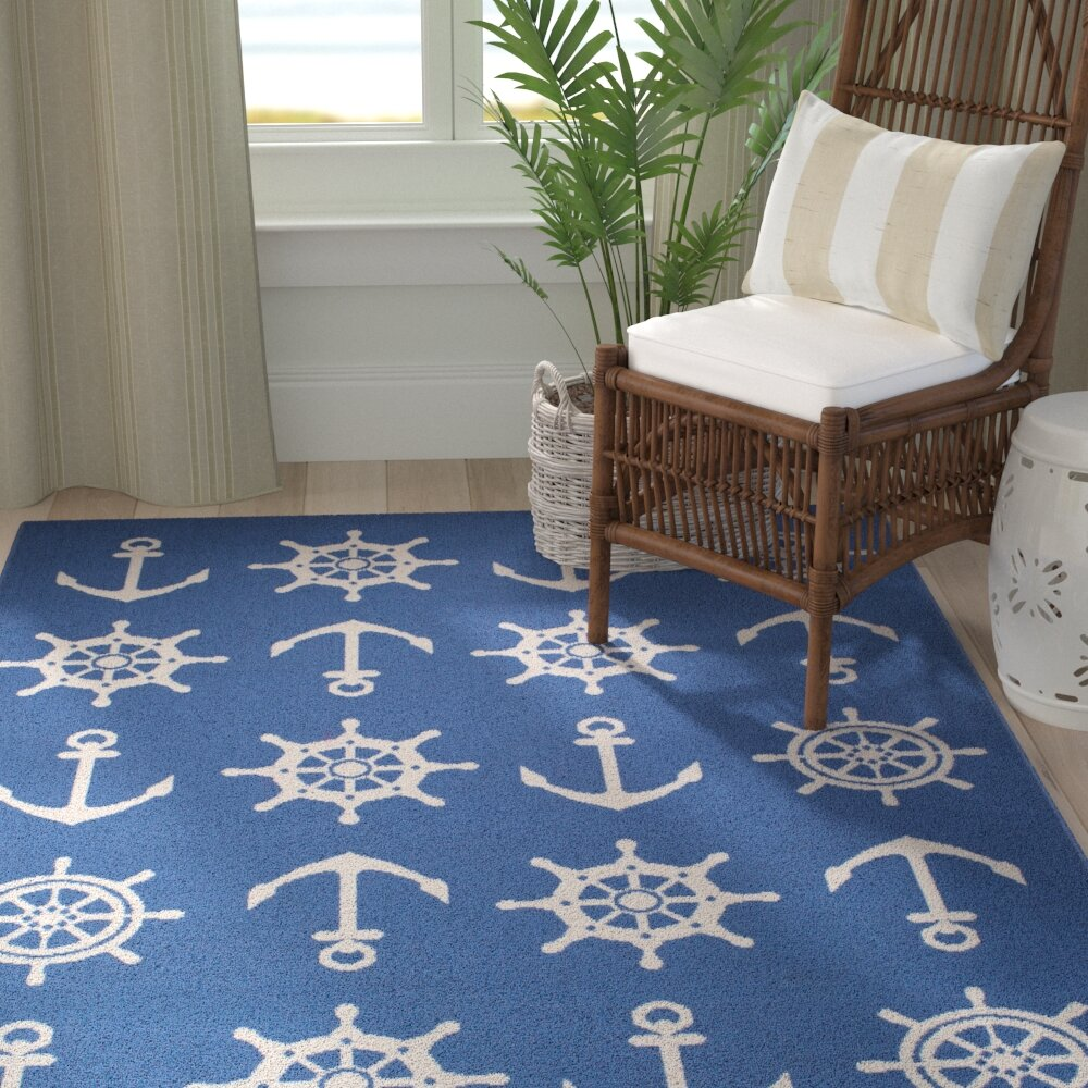 Breakwater Bay Jessa Nautical Schooner Blue White Indoor Outdoor Area Rug Reviews Wayfair