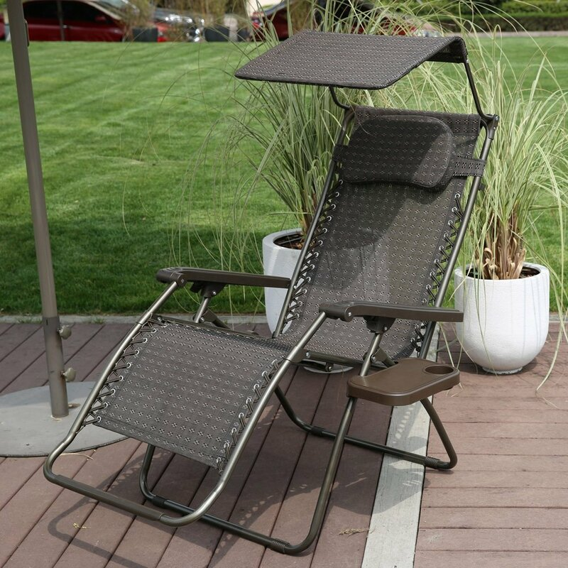 Reclining Folding Zero Gravity Chair with Cushion - Abba Patio Reclining Folding Zero Gravity Chair With Cushion