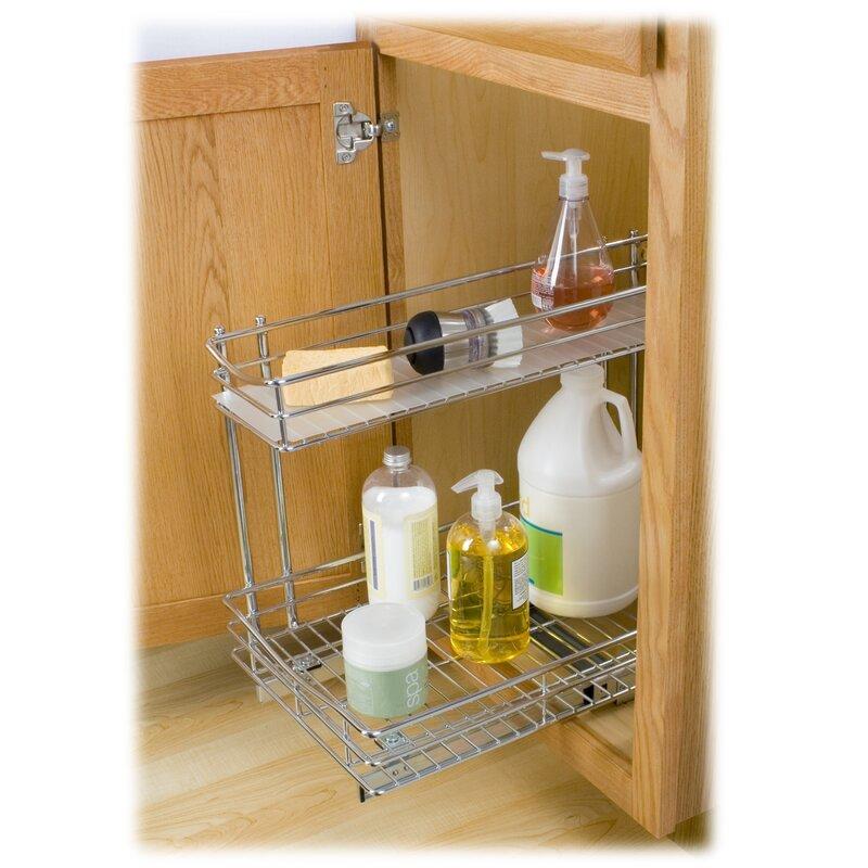 Bathroom Cabinet Organizer Under Sink lynk roll out under sink cabinet organizer - pull out two tier