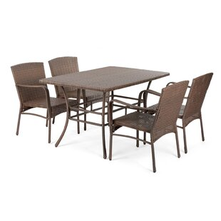 Gracie Oaks Warrick Outdoor Patio 5 Piece Dining Set