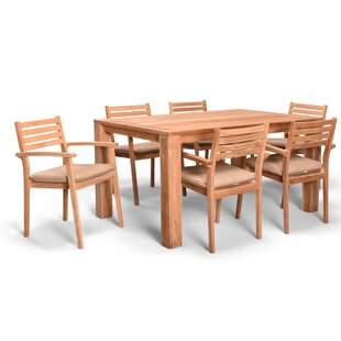Culbertson 7 Piece Dining Set Teak with Sunbrella Cushions by Highland Dunes