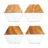 Ivy Marble and Mango Wood Hexagon Shaped Coaster (Set of 4)