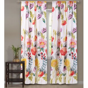 Briaroaks Nature/Floral Sheer Rod pocket Curtain Panels (Set of 2) by Bungalow Rose