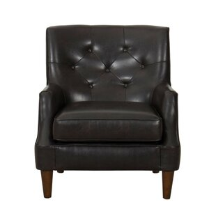 Hood Button Tufted Faux Leather Upholstered Wooden Armchair by 17 Stories