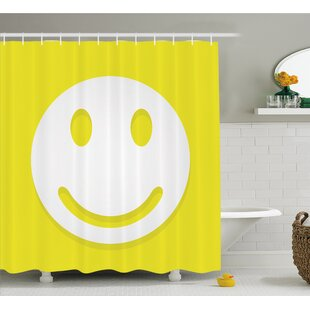 Rise and Shine Positive Optimistic Classic Big Smiley Happy Face Artwork Shower Curtain Set