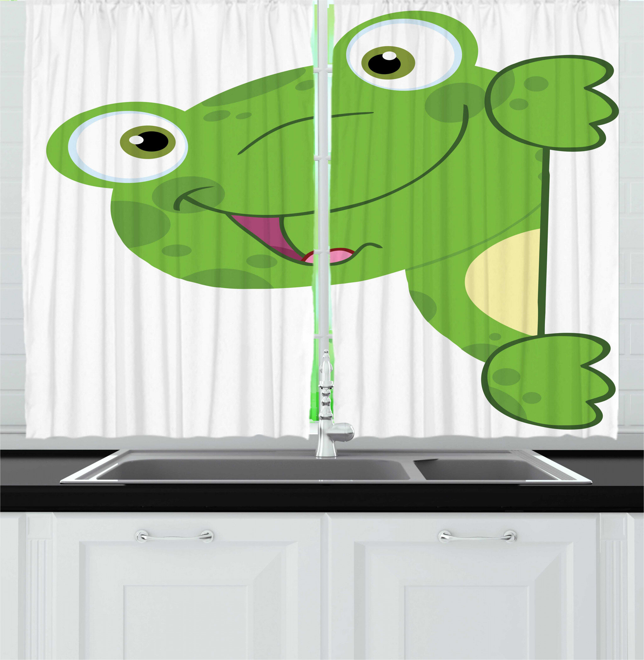 East Urban Home 2 Piece Frogs Childish Graphic Of Cartoon Smiling Animal Kitchen Curtain Set Wayfair