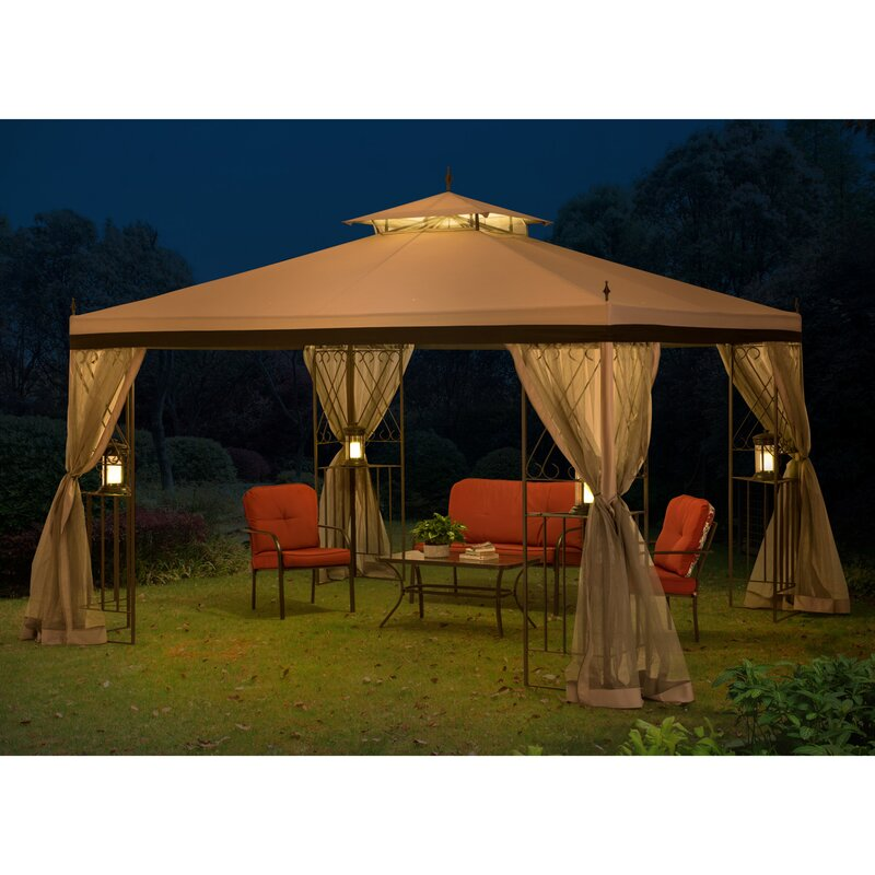 Bon 12 Ft. W X 9 Ft. D Steel Patio Gazebo With Mosquito Netting